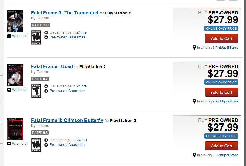 Fatal Frame Reprints Available at US Gamestop Locations - Limited ...