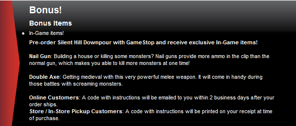 Gamestop offering preorder content for Silent Hill: Downpour
