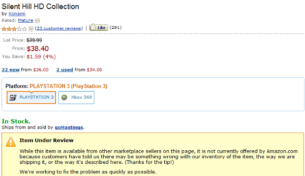 Amazon no longer stocking Silent Hill HD Collection, item under review