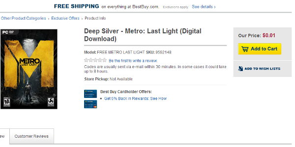 Best Buy accidentally sells Metro: Last Light for a penny (Update: it's dead)
