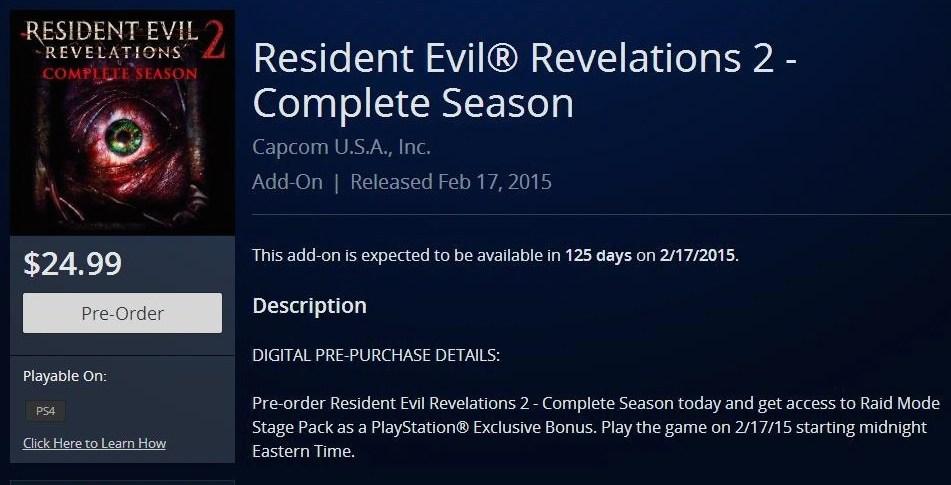 (UPDATE: Not REal) PSN lists Resident Evil Revelations 2 for February release