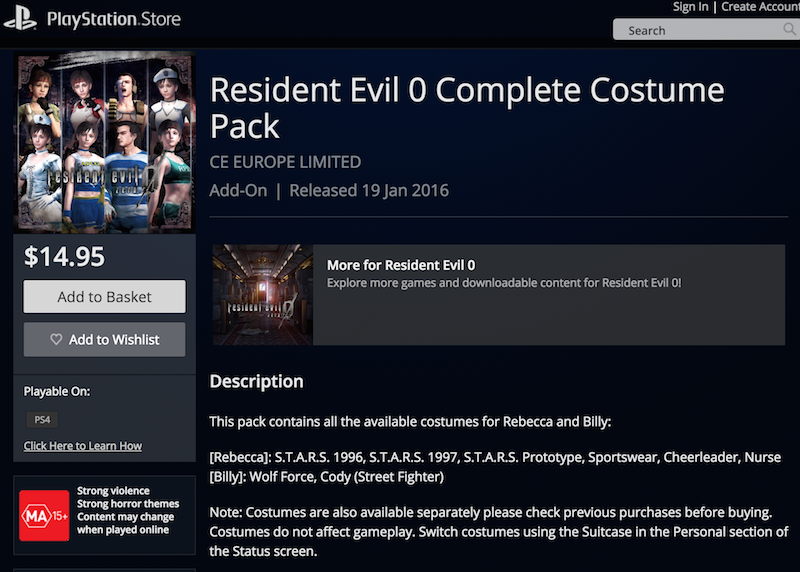 Looks like all those extra costumes in Resident Evil 0 HD will be sold through DLC packs