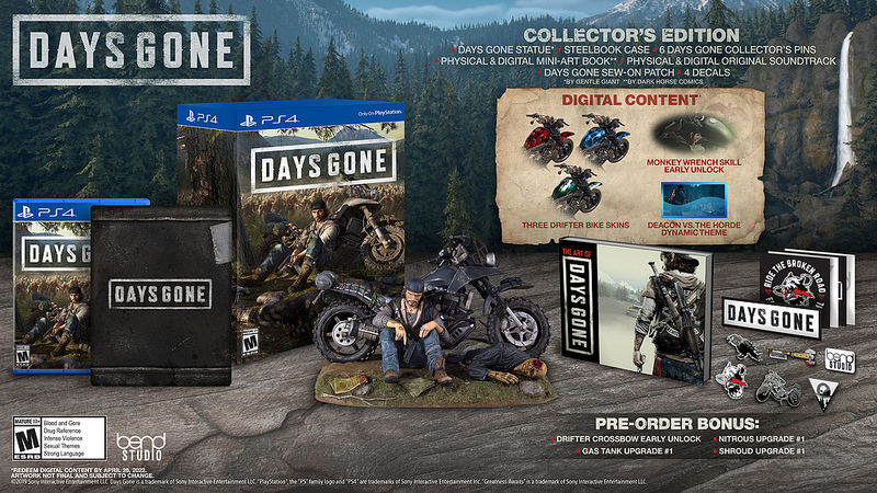 The items included in the days gone Collector's Edition- fully listed in the article- are displayed against a backdrop of the Farewell Wilderness, featuring mountains covered in Ponderosa pine trees and rocky outcrops.