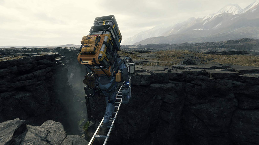 Death Stranding: Norman Reedus using ladder to climb over canyon