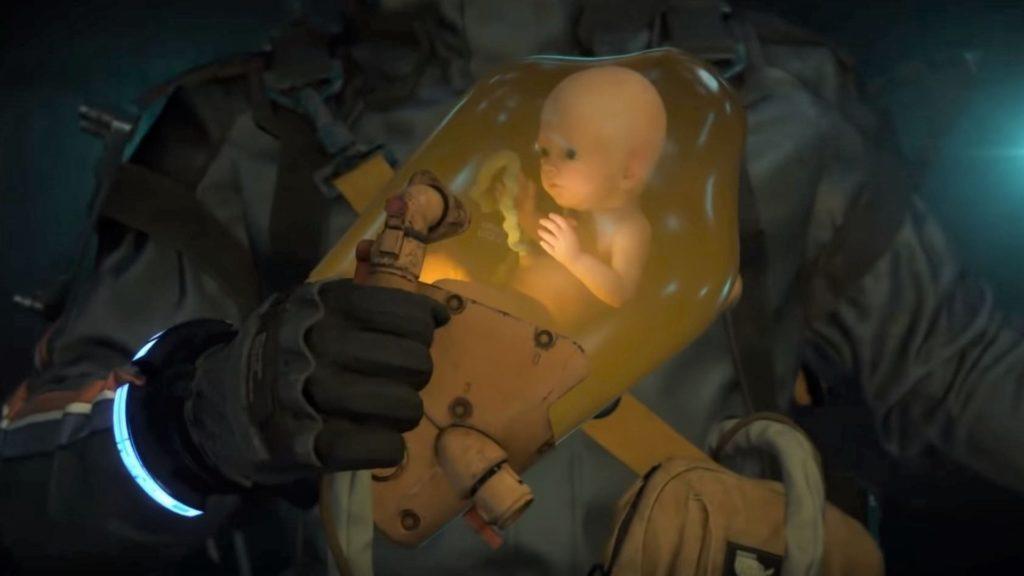 Death Stranding: Norman Reedus holding onto bridge baby inside protective pod