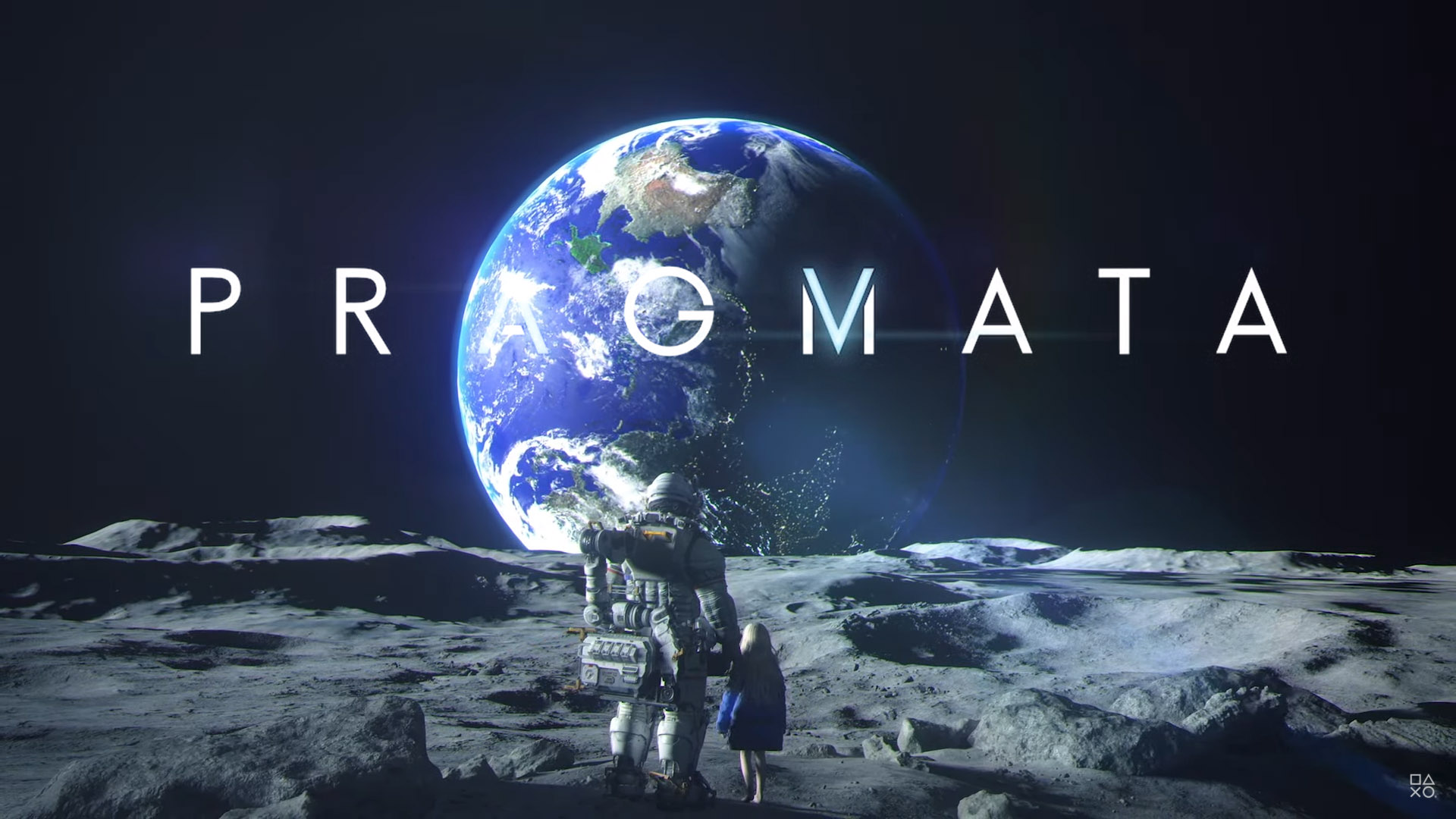 Pragmata logo on scene of both characters standing on moon looking at earth