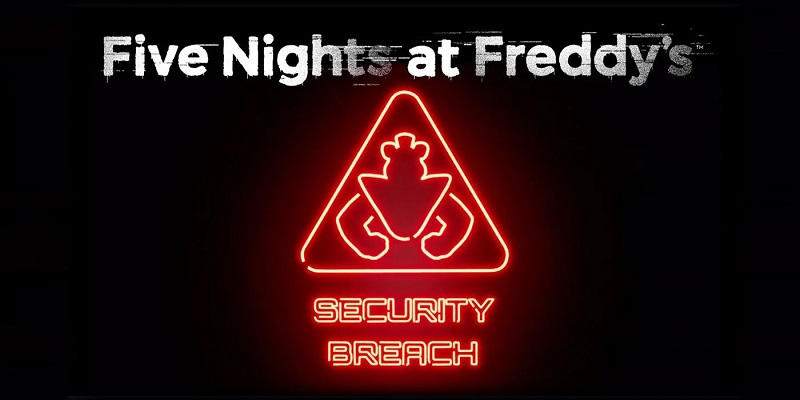 Five Nights At Freddy's: Security Breach logo with neon sign