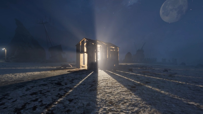 in sound mind exterior screenshot showing an old shed with light shining out of it at night