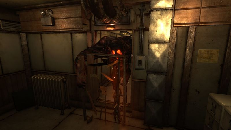 monstrum brute breaks down the door of a room the player is in
