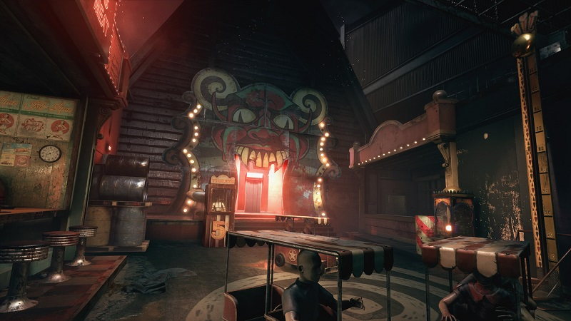 outlast trials a carnival showing an entrance to a spooky ghost ride