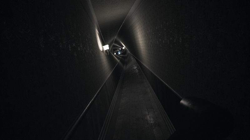 Screenshot of Visage which shows a twisted corridor stretching on.