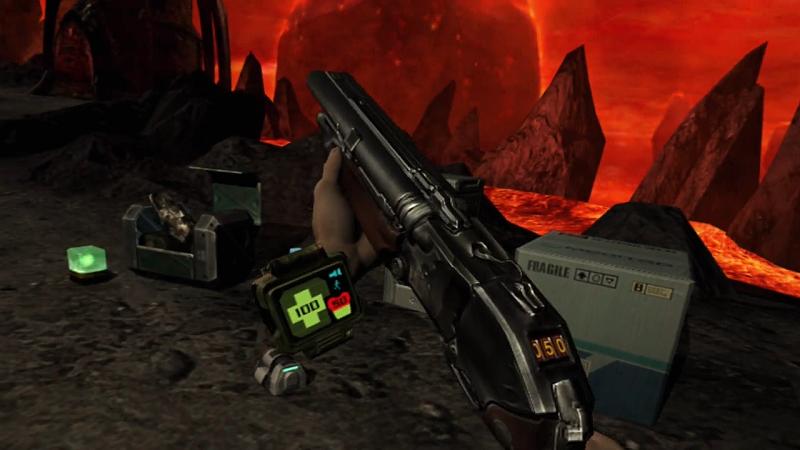 Doom 3 screenshot showing the super shotgun