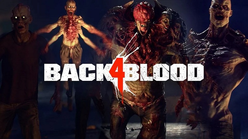 Back 4 Blood logo with zombies behind it.