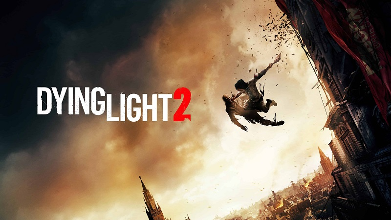 Artwork showing the Dying Light 2 logo and two people leaping off a building