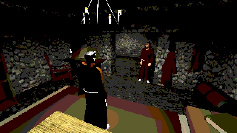 Screenshot from Black Relic showing two priests in a room together.