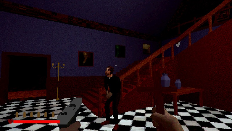 Screenshot from The House of Unrest showing a pizellated priest inside the mansion.