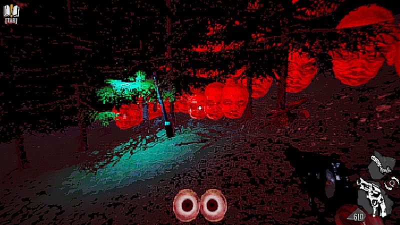 Screenshot from Rose of Meat showing a dark forest with giant red baby heads. You heard me.