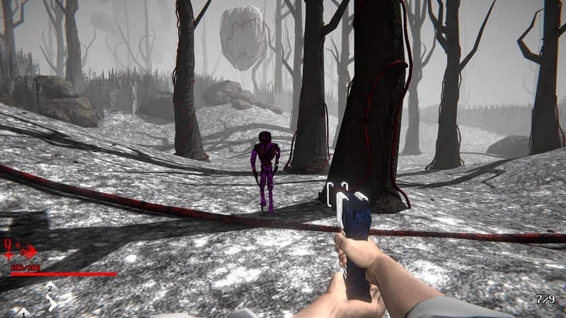 Screenshot from Seraphixial showing a purple monster coming towards the player.