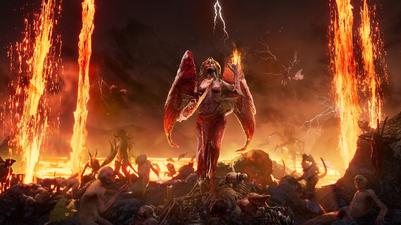 Screenshot from Succubus showing a naked demonic woman surrounded by naked slaves.
