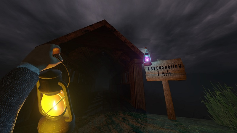 Screenshot from The Fruit showing a sign while the player-character holds a lit lantern.