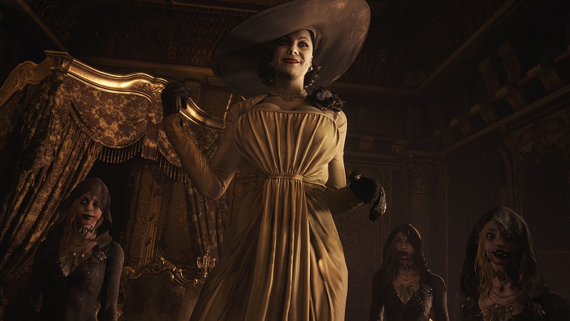 Screenshot from Resident Evil 8: Village showing Lady Dimitrescu towering over the player.