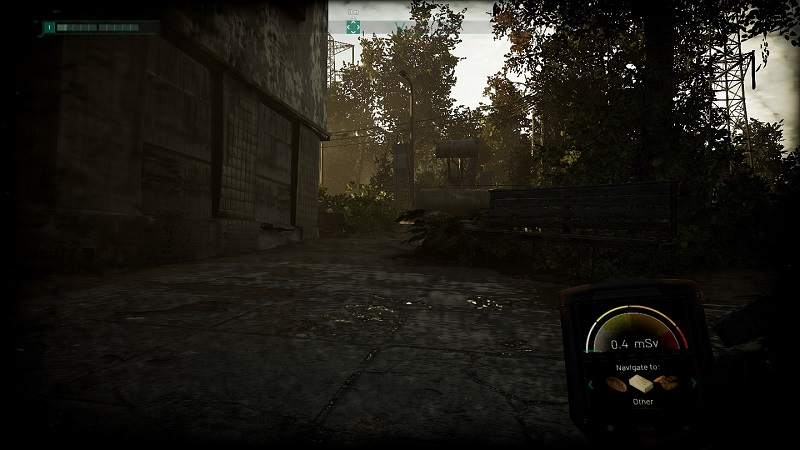 Screenshot from Chernobylite showing the player holding a radiation detector.