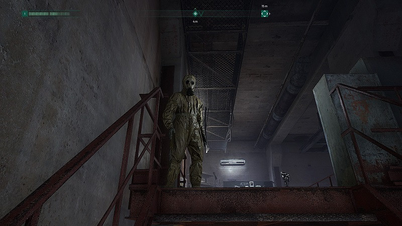 Screenshot from Chernobylite showing a character in full radiation suit.