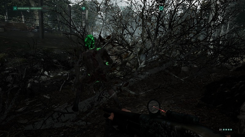Screenshot from Chernobylite showing a green-headed monster with its back to the player.