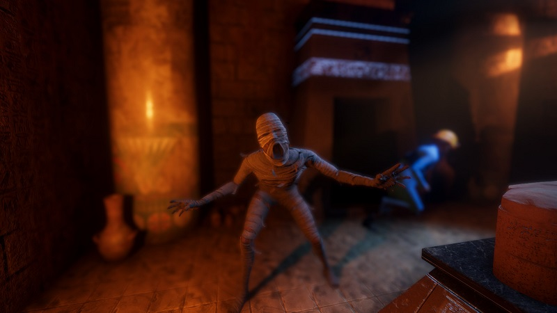 Screenshot from Forewarned showing a Mummy about to attack.